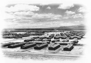 Historical aerial view of Topaz Camp